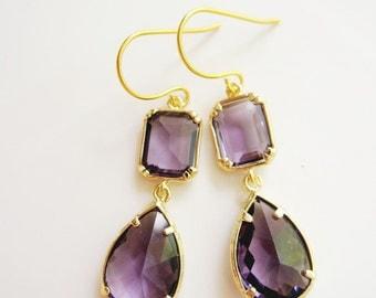 Purple Earrings, Amethyst Earrings, Dangle Drop, Gold Edge Earrings, Purple Teardrop, Bridesmaid Earrings, Wedding Jewelry, Gardendiva