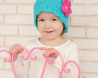 9 Sizes Turquoise Blue Hat Baby Hat Baby Girl Hat Toddler Hat Toddler Girl Hat Womens Hat Crochet Flower Hat Flapper Beanie 30 Flower Colors