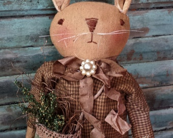 Primitive Bunny Rabbit Standing Doll Sweet Pea Pattern Instant Download