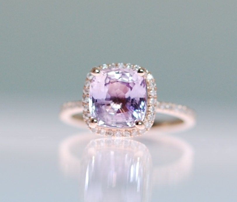 Purple Sapphire Ring 14k Rose Gold Diamond Ring 3 45ct Square