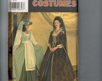 Misses Sewing Pattern Simplicity 7756 Faire Wench Elizabethan Medieval Renaissance SCA Dress Costume Size 10 12 14 Bust 32 33 34 36 UNCUT