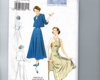 REPRODUCTION Misses Sewing Pattern Vogue V8974 Misses 1949 1940s 40s Style Reproduction Sundress and Bolero Size 6-14 UNCUT