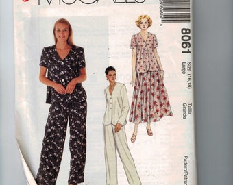 Misses Sewing Pattern McCalls 8061 Misses Loose Fitting Top Pants Skirt Dressing Down Size 16 18 Bust 38 40 UNCUT  99
