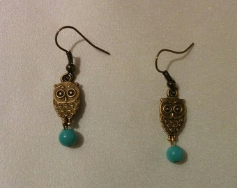 Owl Earrings, turquoise beads