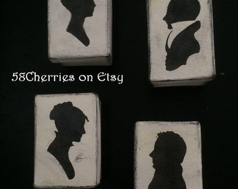 Silhouette Couple Boxes - Jane Austen Regency Style - Ladies and Gentlemen - Couples - Great for Wedding Favors & Bridesmaid Gifts