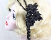Black Flapper Headpiece, Art Deco Headband, Hair Accessory, 1920s Headband, Great Gatsby, Steampunk Costume, Victorian Headpiece, Fascinator