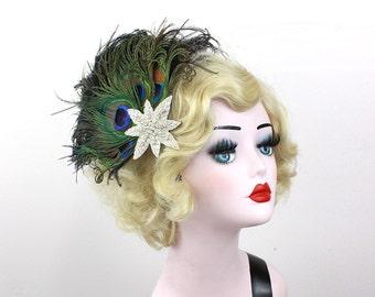 Peacock Feather Fascinator, Hair Accessory, Star Hair Clip, Black Showgirl Headdress, Burlesque Headpiece, Moulin Rouge, Great Gatsby