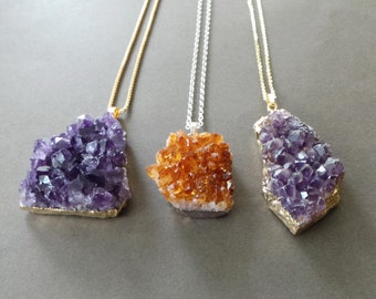 Rough Raw Amethyst Crystal Quartz Gold Dipped Drusy Druzy Pendant Necklace Raw Citrine Druzy Necklace
