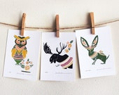 3 Print Set - Moose, Jack Rabbit, Owl 5 x 7