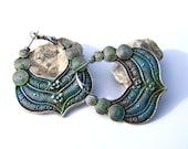 Pretty hoop style earrings, blue green patina silver metal earrings, filigree earrings, rustic bohemian boho chic, handmade jewelry