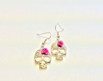 Silver Sugar Skull Pink Rose Day of the Dead Earrings