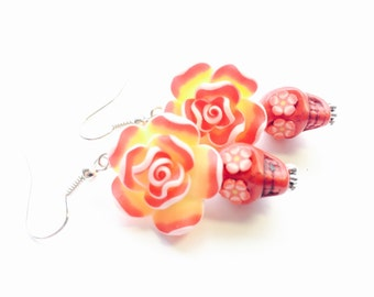 Red Yellow Day of the Dead Roses and Sugar Skull Earrings