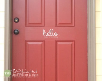 Front Door Hello Please No Soliciting  - Vinyl Lettering - Hello Decal for your Front Porch - Front Door Decal - Vinyl Decal Sticker 1790