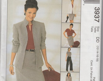 "Ellen Tracy Sewing Pattern McCall's 3937 Sizes 12, 14, 16 18 34-40"" Bust Ladies' Blouse, Jacket and SKirt"