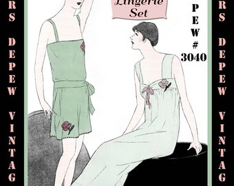 Vintage Sewing Pattern Instructions 1920's Flapper Teddy, Knickers and Nightgown Ebook PDF Depew 3040 -INSTANT DOWNLOAD-