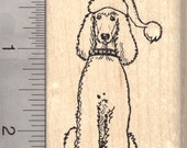 Christmas Poodle Rubber Stamp, Dog in Santa Hat H26618 Wood Mounted