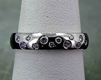 Platinum FINGERPRINT wedding band set with .20 carats of diamonds 4mm wide
