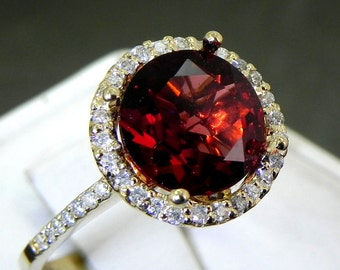 AAA Red Garnet Natural Untreated Round   10mm  3.06 Carats   in 14K Yellow gold Halo ring with .30 carats of diamonds 0984