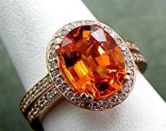 AAAA Neon Orange Mandarin Spessartite Garnet   10x8mm  3.37 Carats   Natural Untreated in 14K rose gold diamond bridal set(.35ct) 1412 B108