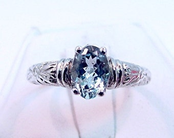 AAAA Aquamarine Natural   8x6mm  1.28 Carats   in Antiqued Floral 14K gold ring 0609
