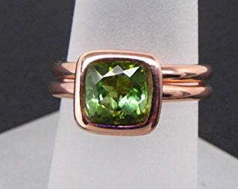 AAAA Cushion Cut Natural Green Tourmaline   7x7mm  1.65 Carats   in a 14K Rose gold bridal set. 2059