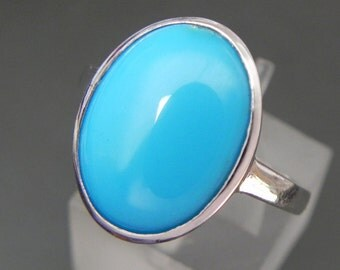 AAAA Sleeping Beauty Turquoise from Arizona   16x12mm   in 14K White Gold Ring MMM
