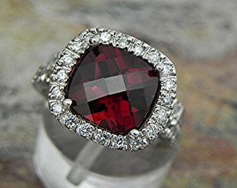 AAAA Red Pyrope Garnet   9x9mm  3.80 Carats   14K White gold diamond (.65ct) Bridal set. BH99 1883