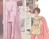 Butterick 6038 Young Designer Mary Quant Belted Yoked Tunic Duster Coat Flared Pants Womens 1970s Vintage Sewing Pattern Bust 32 1/2