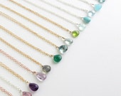 Tiny Gemstone Necklace • Layering Jewelry • Delicate Gemstone Drop • Bridesmaid Gift • Simple Gem Drop • Layering Necklace