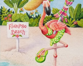 Beach Babe Flamingoes No. 2 Miniature Art - Limited Edition ACEO Giclee Print reproduced from the Original Watercolor