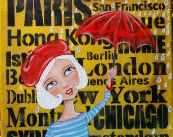 Original Painting Acrylic 12 x 12 Travel Girl Oddimagination - Denise Baldwin