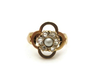 Victorian Pearl Ring - 10k Gold, Quatrefoil Ring, Paste Ring, Antique Statement Ring