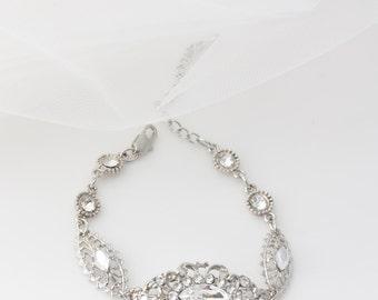 Crystal Bracelet Wedding Bracelet Swarovski Rhinestone Bridal Bracelet Silver Filigree Bridal Jewelry BELLA