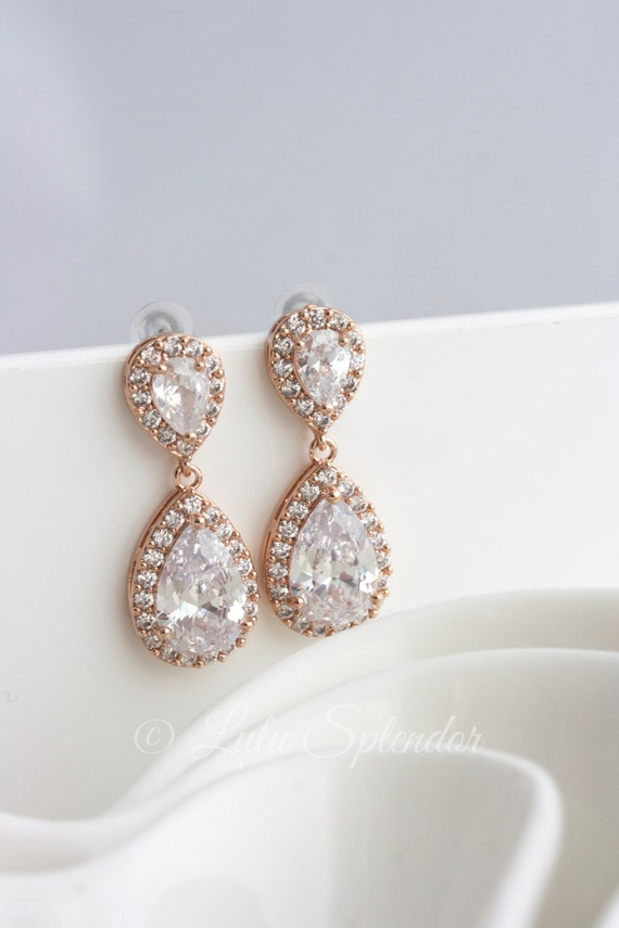 Wedding Earrings Rose Gold Teardrop Earrings Wedding Jewelry