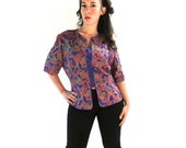 Adrianna Papell 100% Silk Purple Red Button Blouse