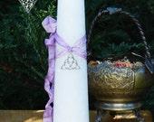 Trinity Goddess Triquetra Torch Light Candle 2x9 Pillar
