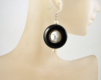 Handmade Black Round Stone and White Pearl Drop Earrings - Hoop - short - Birthstone - Birthday - Anniversary