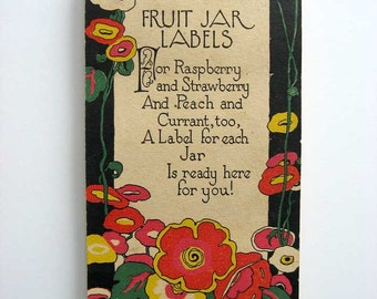 Vintage 1930's Rust Craft Booklet Full of Canning Jar Labels in Red and White, Fruits, Vegetables, Full of Labels