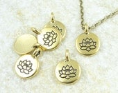 Delicate Gold Pendant Lotus Charm TierraCast Antique Gold Charm Lotus Flower Pendant Yoga Charms for Mindfulness Meditation Jewelry (P1219)