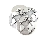 Earth Button by TierraCast - Antique Silver Button Findings Clasp for Leather Jewelry - Leather Findings (PF778)