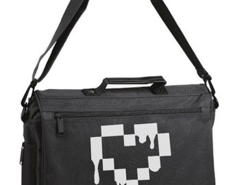Gothic Heart Laptop Bag - Pixel Drops Heart - pastel goth lolita drippy font scene hipster messenger briefcase