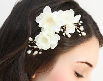 Bridal Floral, Freshwater Pearl, Rhinestone and Crystal Hair Fascinator