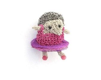 Hedgehog wearing a pink dress brooch - animal brooch, hedgehog jewelry, ballerina hedgehog, ballet jewelry, ballerina animal