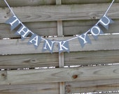 Grey and White Thank You Banner | Wedding Photo Prop |Thank You Bunting in Gray