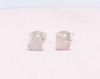 Little Heart Stud Earrings - Heart Earrings - Silver Jewelry - Heart Jewelry - Ready to Ship