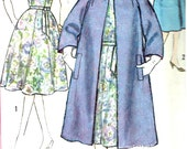 Vintage 1950s Womens One-Piece Dress and Tie Belt and Coat Size 24 1/2 Simplicity 3788 Plus Size Misses 50s