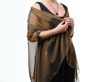 SALE 30% off/ Bronze Black Evening Silk Chiffon Stole/ Wrap/ Shawl