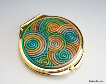 SALE Compact Mirror in Green and Gold Polymer Clay (Gold Plated) 25% Off Clearance