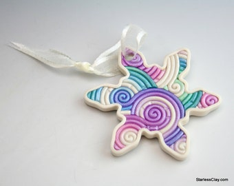 Snowflake Christmas Ornament in Purple and Blue Filigree