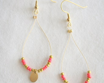 Coral and Gold Dangle Loop Earrings